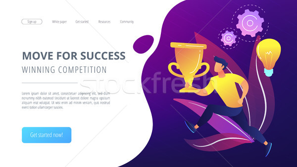 Move for success and winning competition landing page. Stock photo © RAStudio