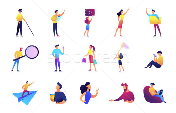 Office work and leisure time vector illustrations set. Stock photo © RAStudio