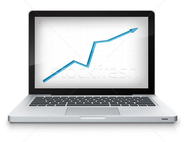 Estadística portátil gris gradiente vector ordenador Foto stock © RAStudio