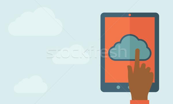 Ujj megérint felhő tabletta érintőképernyő felhő alapú technológia Stock fotó © RAStudio