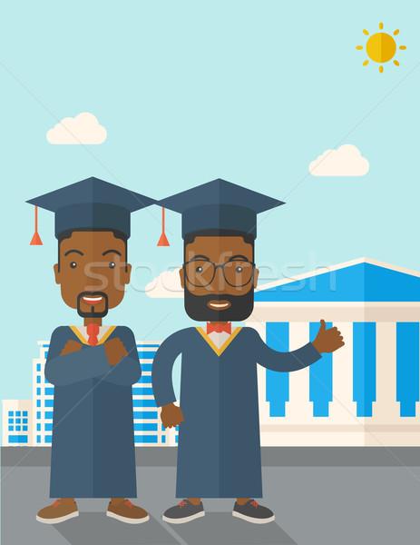 Deux noir hommes graduation cap Photo stock © RAStudio