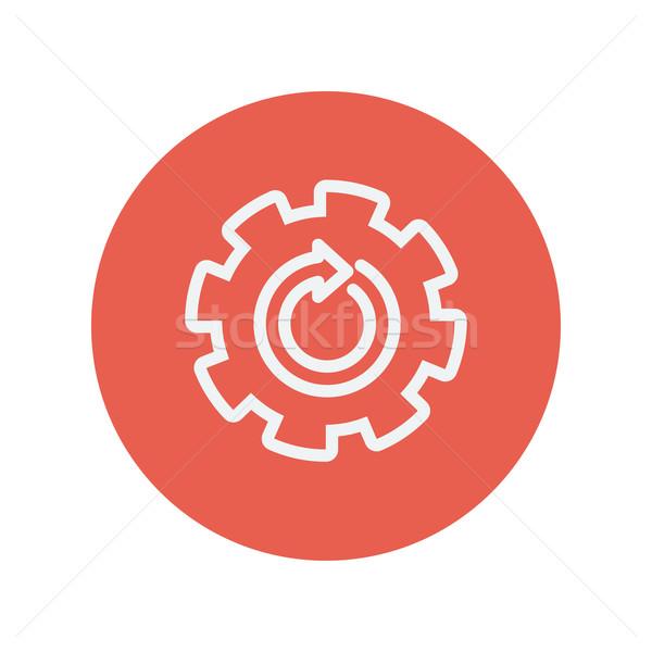 Stock photo: Gear wheel with arrow thin line icon