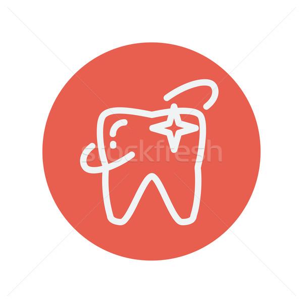 Shining tooth thin line icon Stock photo © RAStudio