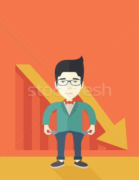 Foto stock: Chinês · empresário · fracassado · moço · em · pé · ruim