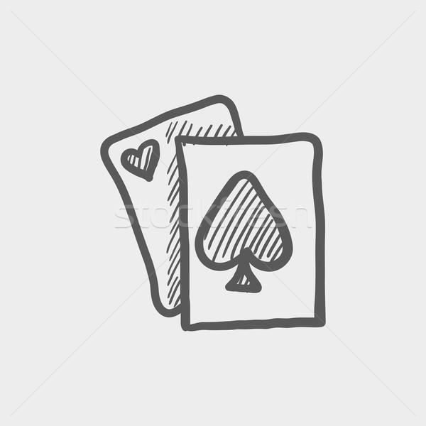 Giocare carta sketch icona web mobile Foto d'archivio © RAStudio