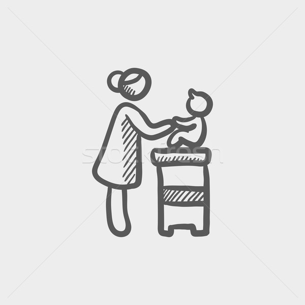 Mother taking care of the baby sitting on a high chair sketch icon Stock photo © RAStudio