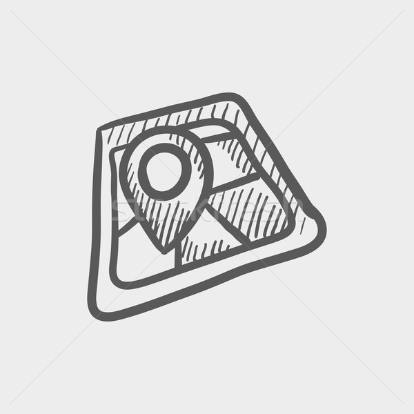 Stock photo: Map pointer house sketch icon