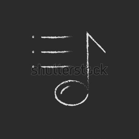 Musical note icon drawn in chalk. Stock photo © RAStudio