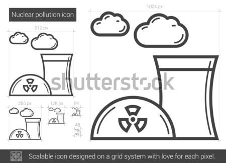 Photo stock: Nucléaire · centrale · icône · craie · dessinés · à · la · main