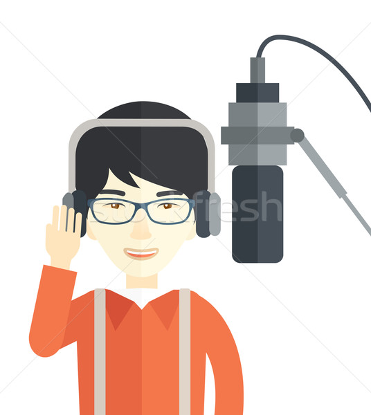 ラジオ アジア 着用 眼鏡 ヘッドホン ストックフォト © RAStudio