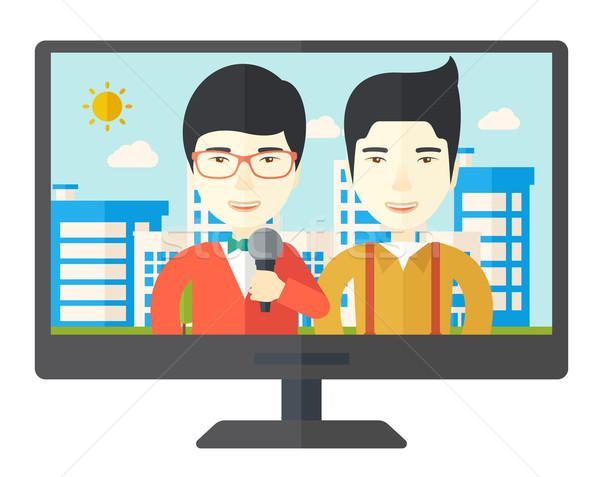 Yayın görüşme televizyon ayarlamak yayın haber Stok fotoğraf © RAStudio