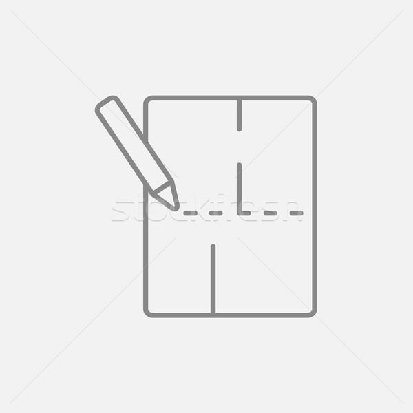 Układ domu line ikona internetowych komórkowych Zdjęcia stock © RAStudio