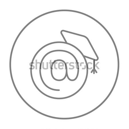Graduation cap with at sign line icon. Stock photo © RAStudio