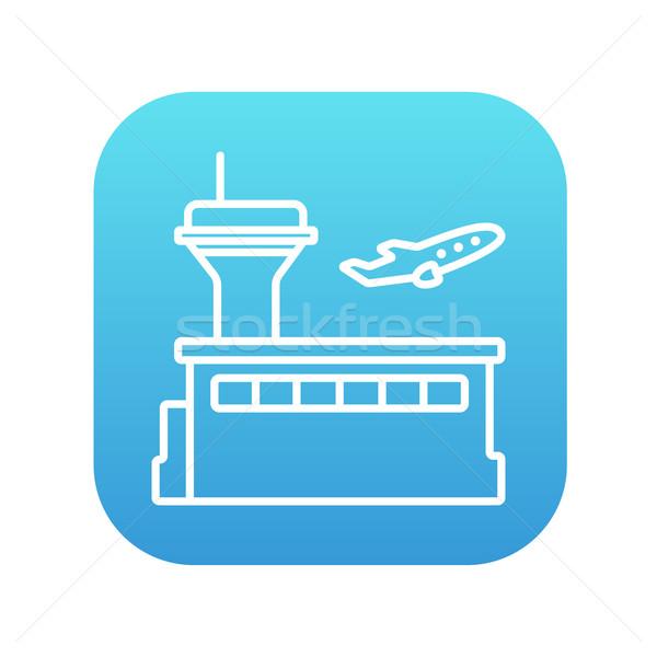 Vliegtuig af lijn icon web Stockfoto © RAStudio