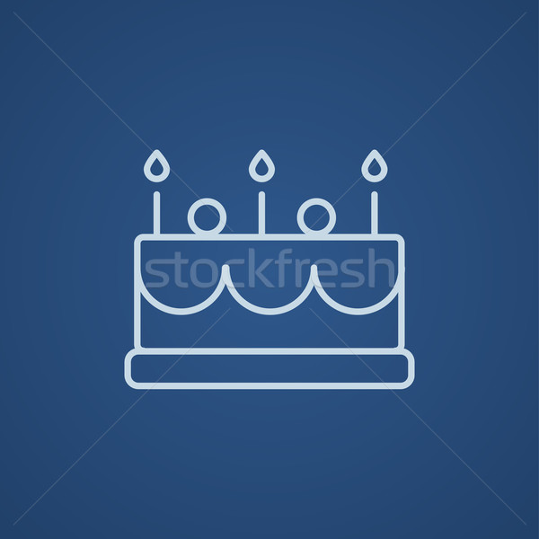 Birthday Cake With Candles Line Icon Vector Illustration Andrei