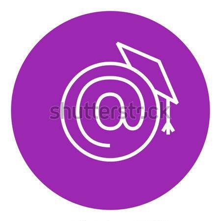 卒業 キャップ にログイン 行 アイコン ウェブ ストックフォト © RAStudio