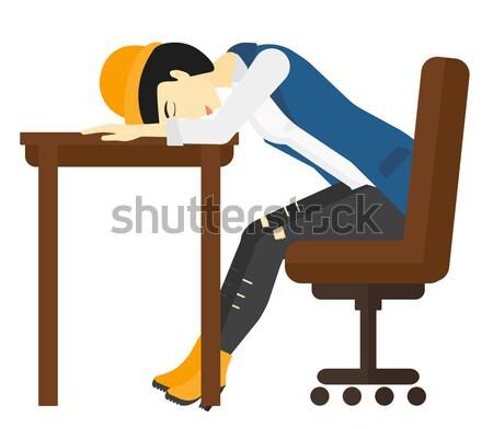Stock fotó: Nő · alszik · asztal · fáradt · vektor · terv