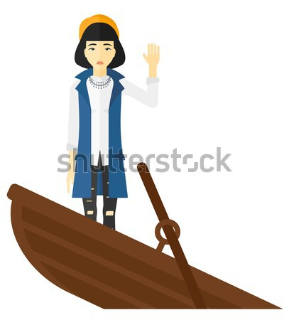 Stock photo: Business woman standing in sinking boat.