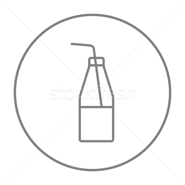 Stock photo: Glass bottle with drinking straw line icon.