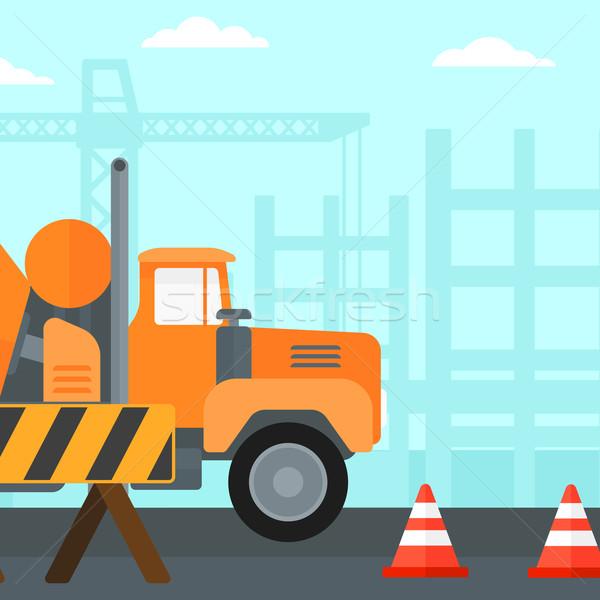 конкретные смеситель строительная площадка дороги вектора дизайна Сток-фото © RAStudio