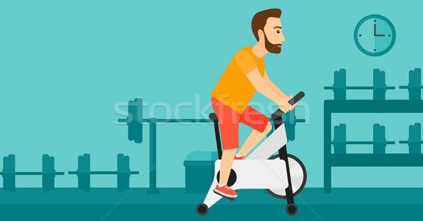 Uomo ciclismo esercizio barba Foto d'archivio © RAStudio