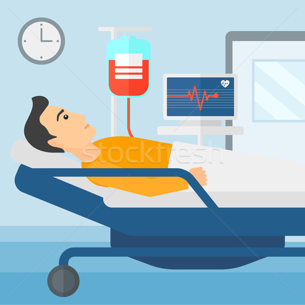 Beteg kórházi ágy férfi kórház szívritmus monitor Stock fotó © RAStudio