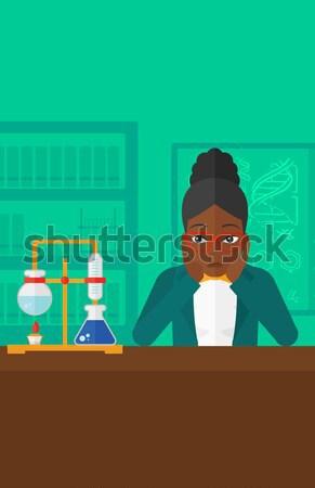 Kobieta rozpacz głowie chemia laboratorium wektora Zdjęcia stock © RAStudio