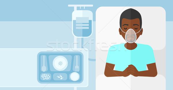Beteg kórházi ágy férfi oxigénmaszk vér vérátömlesztés Stock fotó © RAStudio