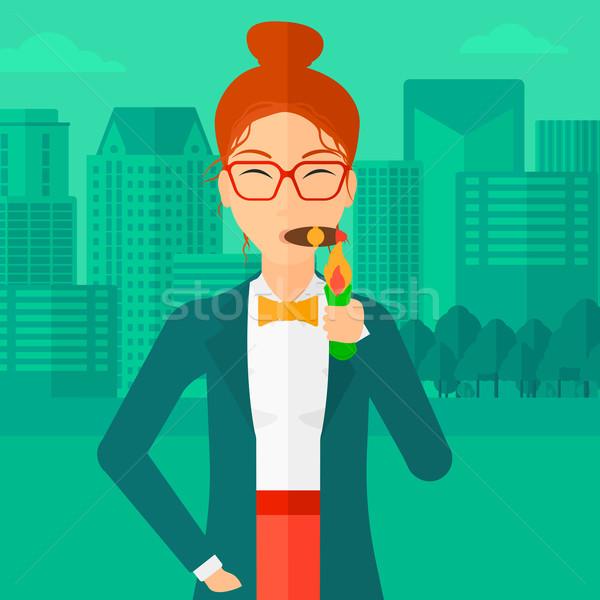 Kobieta palenia cygara nowoczesne miasta wektora Zdjęcia stock © RAStudio