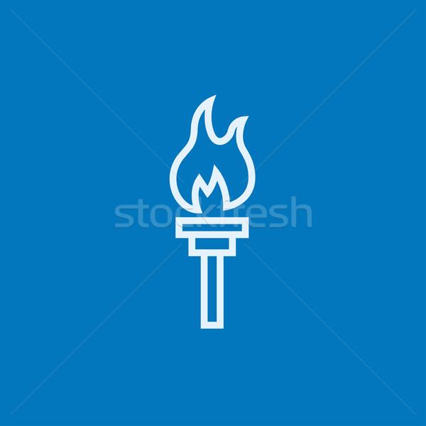 Brûlant lampe de poche ligne icône web Photo stock © RAStudio