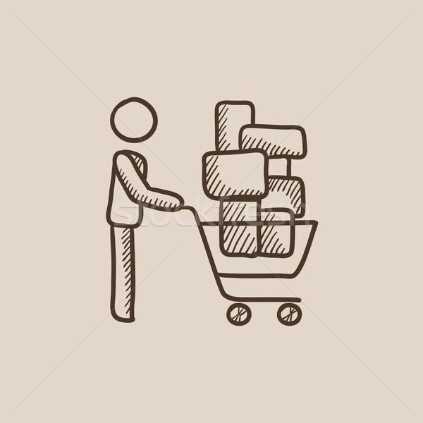 Stock fotó: Férfi · toló · bevásárlókocsi · rajz · ikon · dobozok