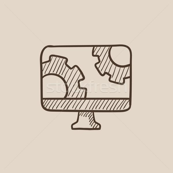 Bilgisayar monitörü dişliler kroki ikon web hareketli Stok fotoğraf © RAStudio