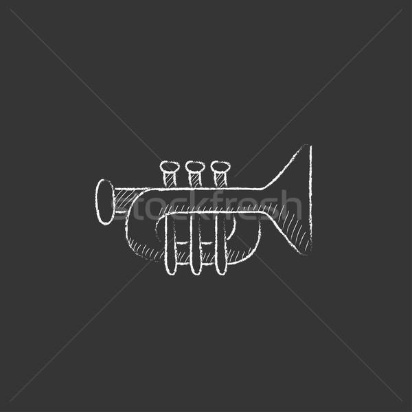 Trombita rajzolt kréta ikon kézzel rajzolt vektor Stock fotó © RAStudio