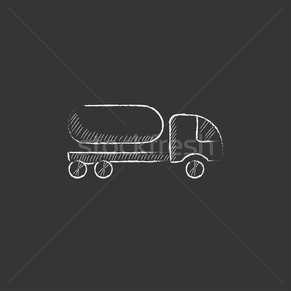 Fuel truck. Drawn in chalk icon. Stock photo © RAStudio