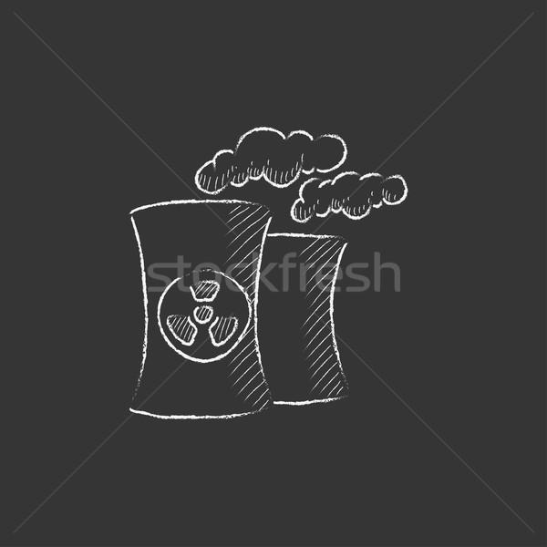 Nucléaire centrale craie icône dessinés à la main Photo stock © RAStudio