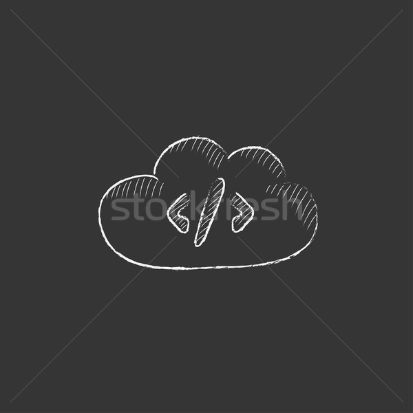 Transferring files cloud apps. Drawn in chalk icon. Stock photo © RAStudio