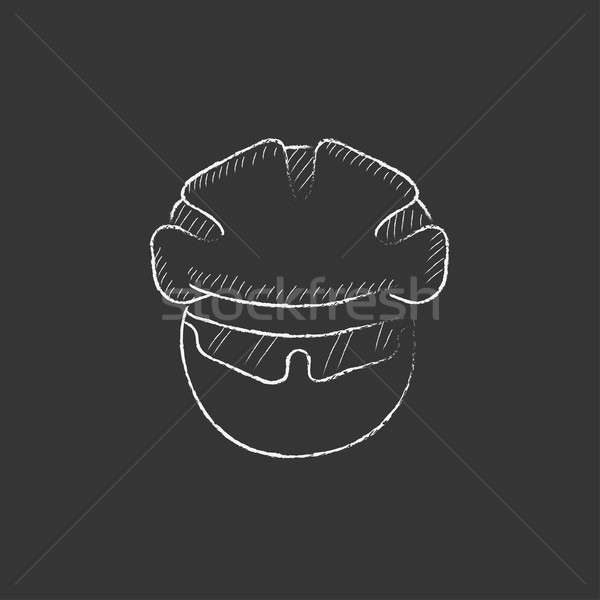 Man in bicycle helmet and glasses. Drawn in chalk icon. Stock photo © RAStudio