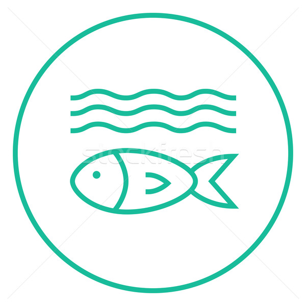 Fish under water line icon. Stock photo © RAStudio