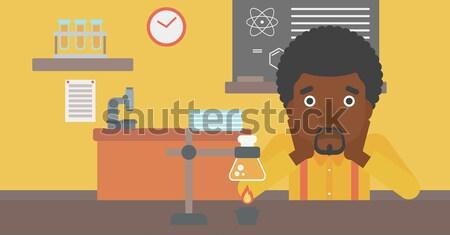 Mulher desespero cabeça química classe vetor Foto stock © RAStudio