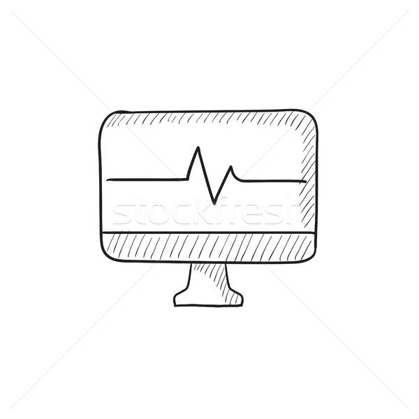 ハートビート モニター スケッチ アイコン ベクトル 孤立した ストックフォト © RAStudio