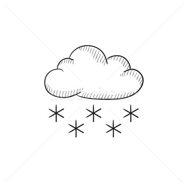 Cloud with snow sketch icon. Stock photo © RAStudio
