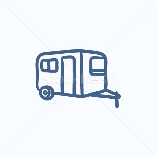 Caravana esboço ícone vetor isolado Foto stock © RAStudio