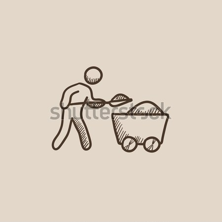 Mining worker with trolley sketch icon. Stock photo © RAStudio