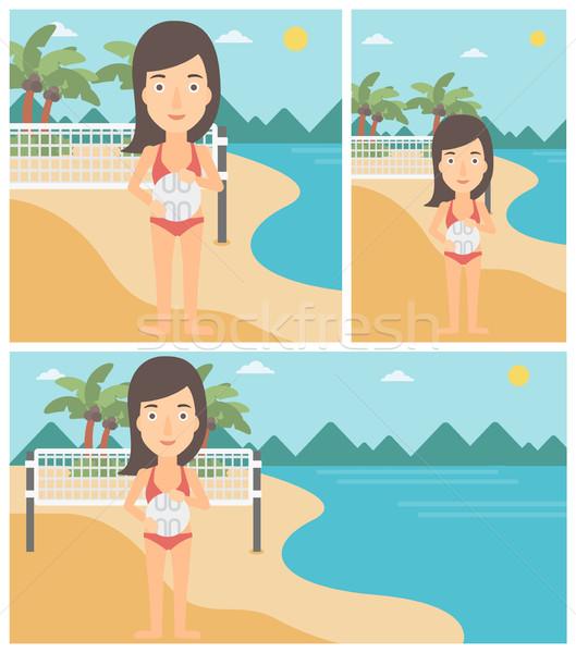 Praia voleibol jogador jovem esportes mulher Foto stock © RAStudio
