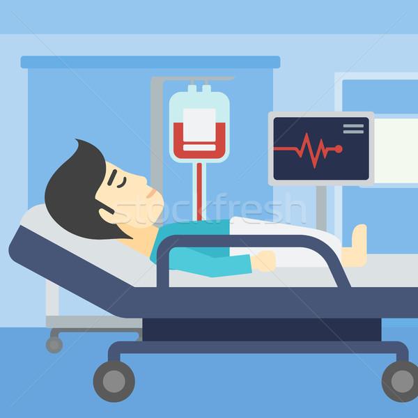Férfi kórházi ágy ázsiai ágy kórház beteg Stock fotó © RAStudio