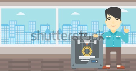 Man with three D printer vector illustration. Stock photo © RAStudio