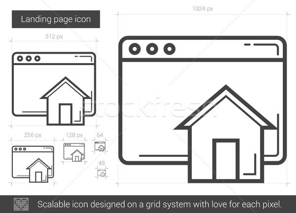 Landing pagina lijn icon vector geïsoleerd Stockfoto © RAStudio