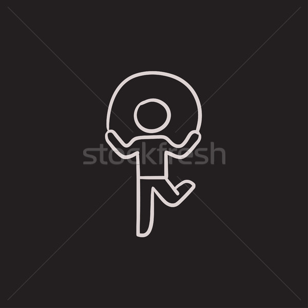 Child jumping rope sketch icon. Stock photo © RAStudio