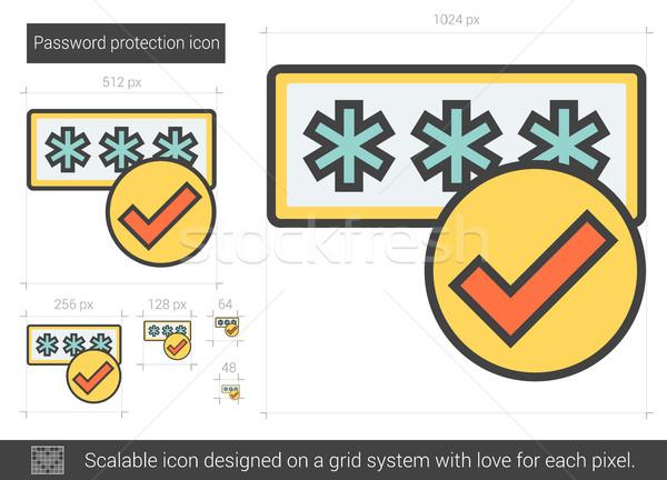 Mot de passe protection ligne icône vecteur isolé Photo stock © RAStudio