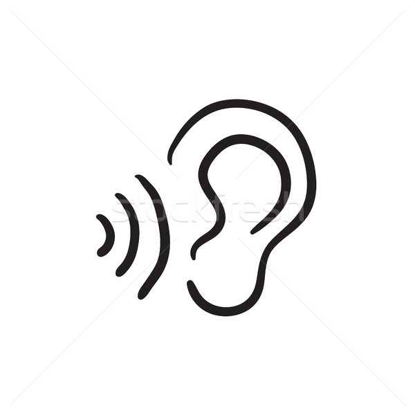 Ear and sound waves sketch icon. Stock photo © RAStudio